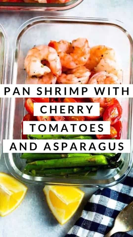 pan shrimp with cherry tomatoes and asparagus