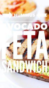 Hummus avocado feta sandwich