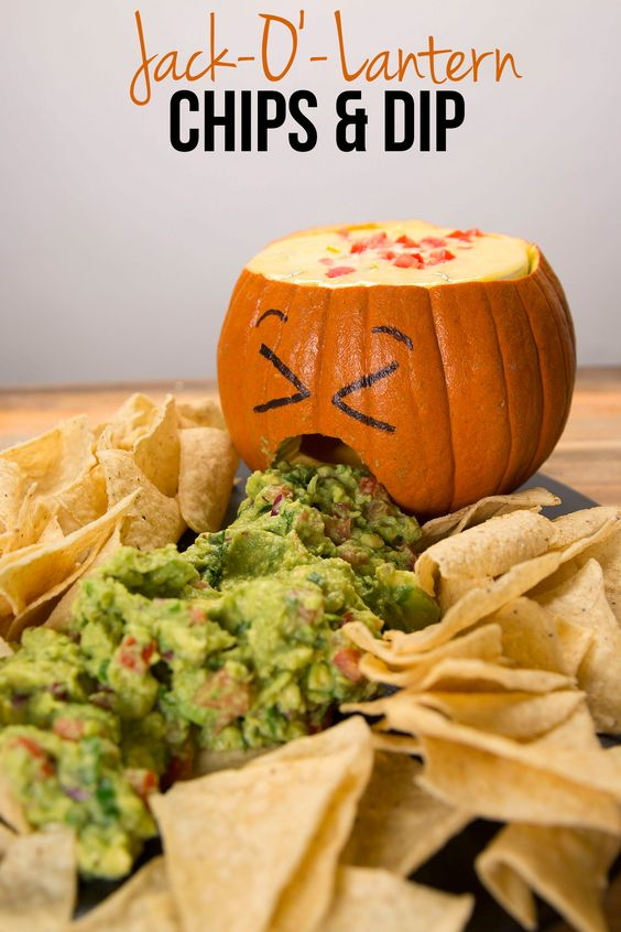 jack o'lantern chips and dip