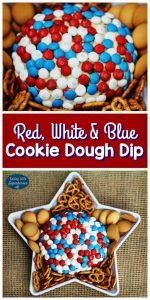 red white and blue cookie dough dip