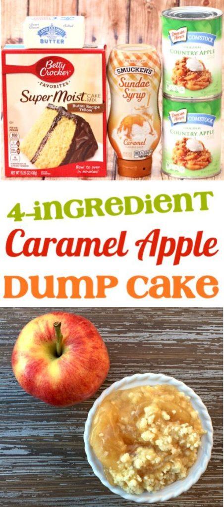 4 ingredient caramel apple dump cake