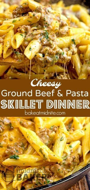 cheesy ground beef pasta skillet