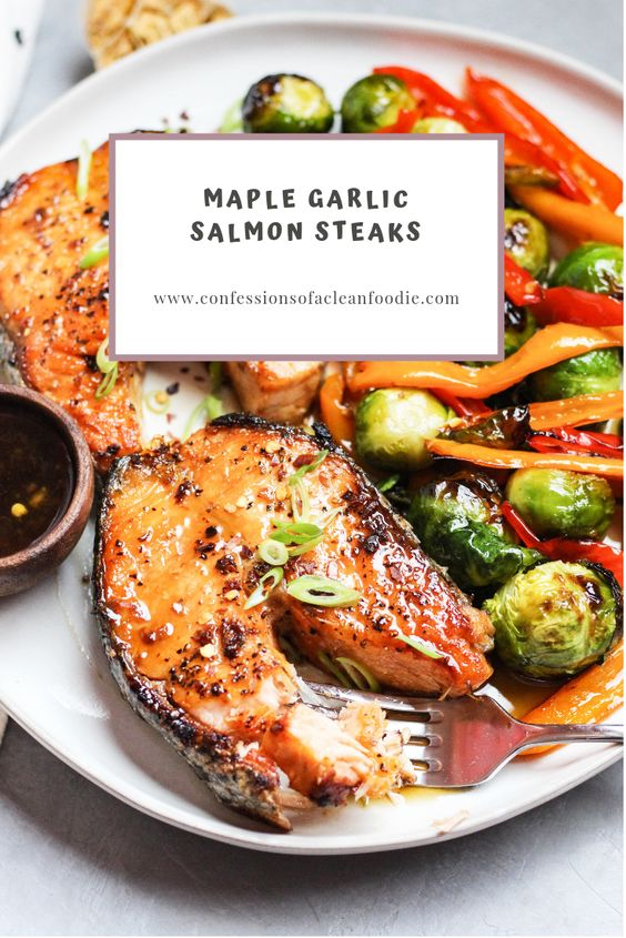 maple garlic salmon steaks