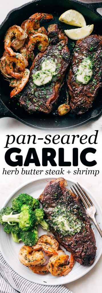 pan seared garlic butter steak and shrimp