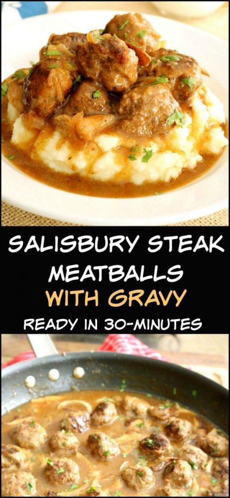 salisbury steak meatballs with gravy