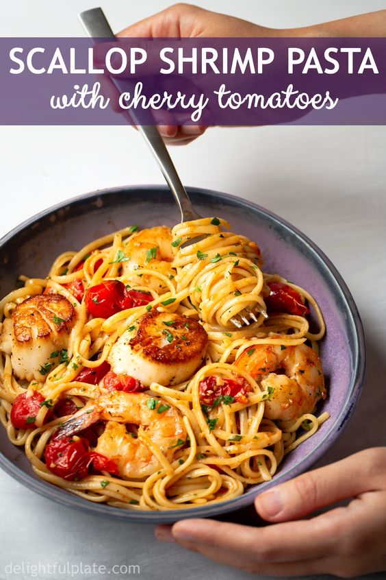 scallop shrimp pasta with cherry tomatoes