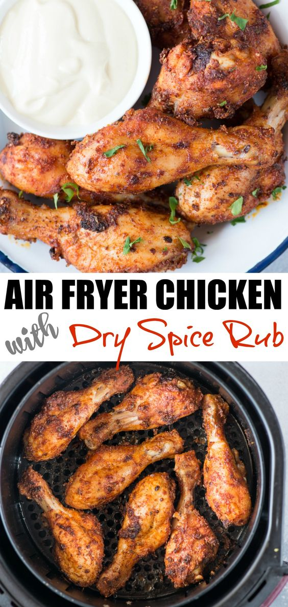 air fryer chicken with dry spice rub