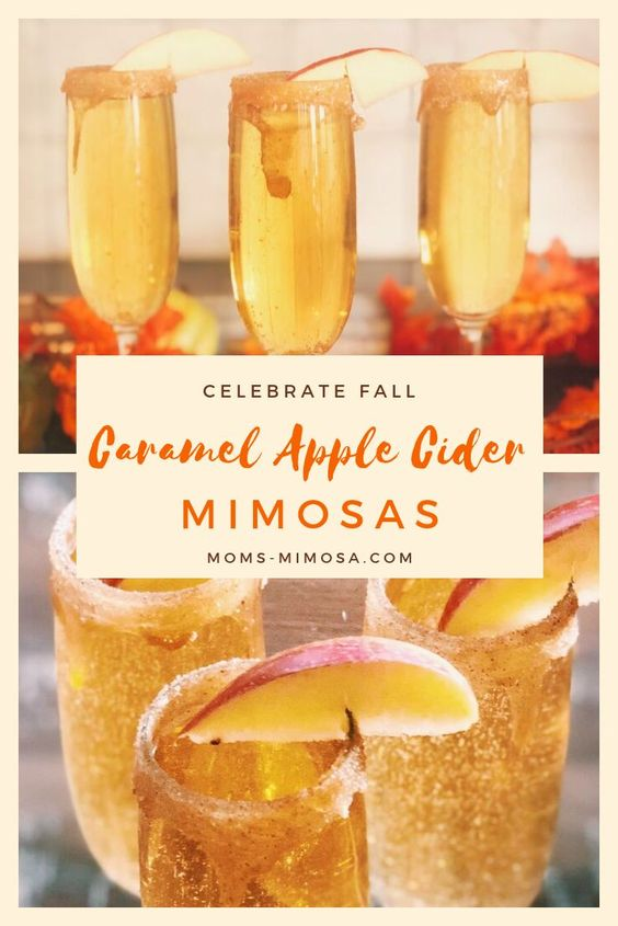 caramel apple cider mimosas