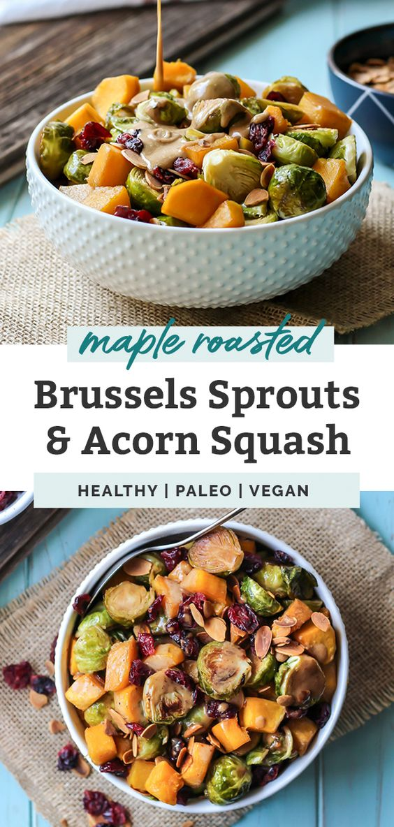 maple roasted brussels sprouts and squash