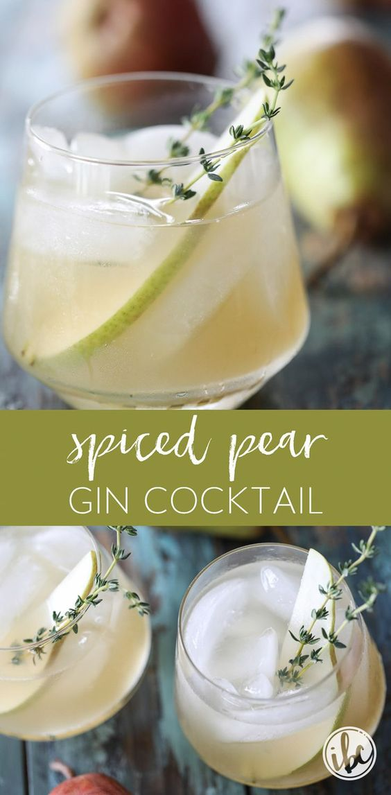 spiced pear gin cocktail