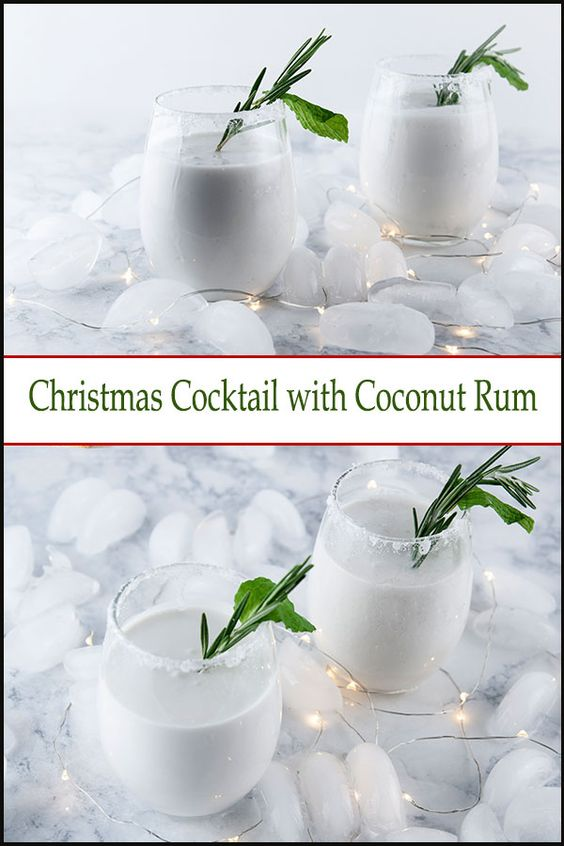 christmas cockail with coconut rum