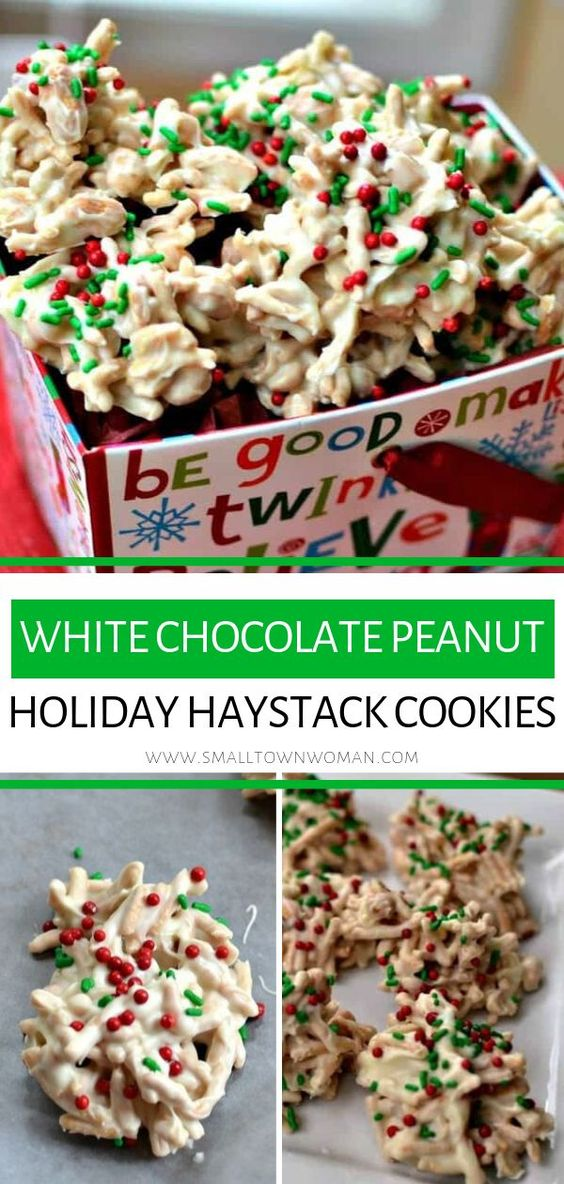 white chocolate peanut holiday haystack cookies