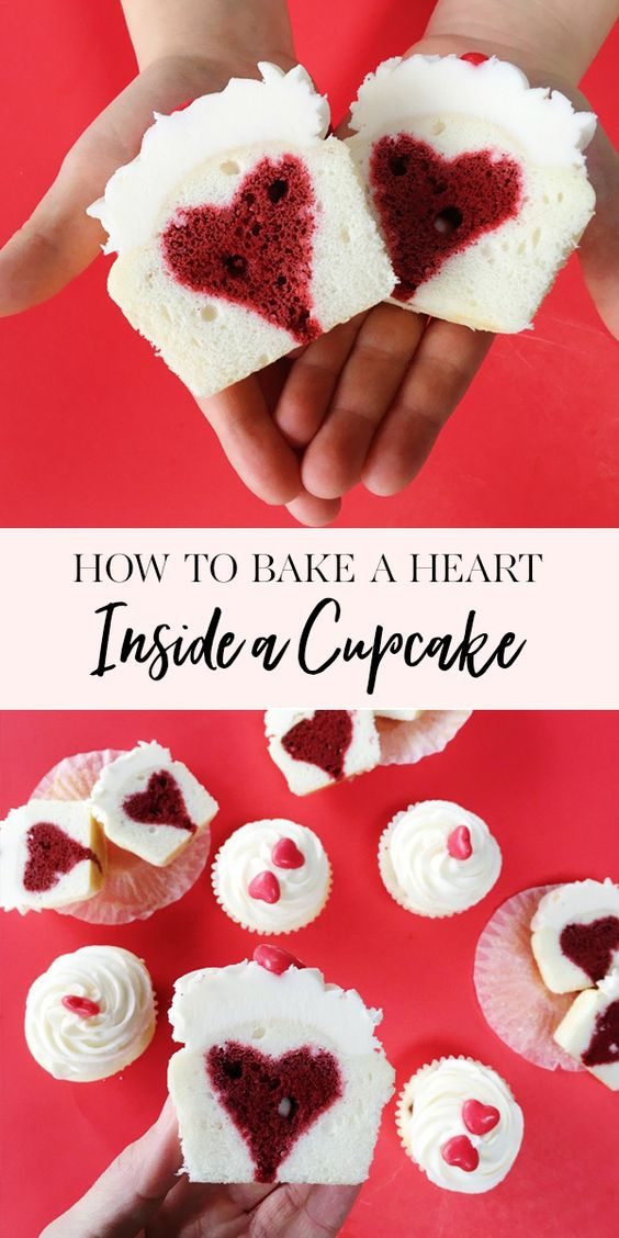 how to bake a heart inside a cupcake