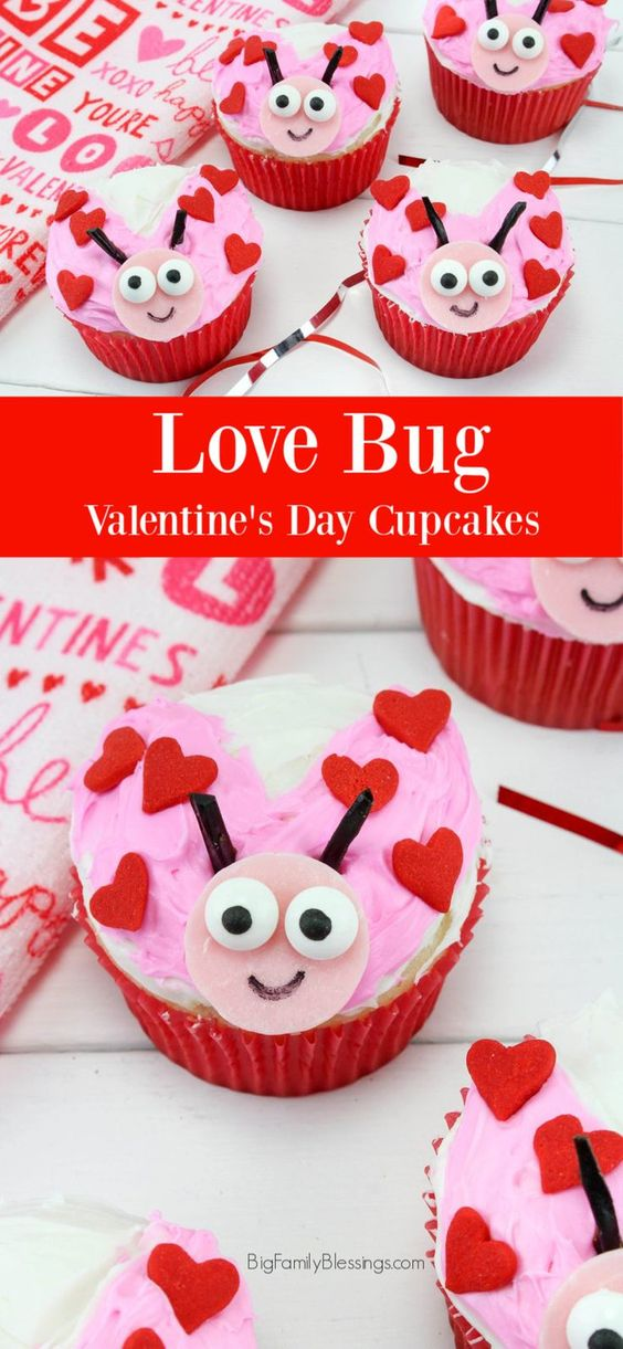 love bug valentines day cupcakes