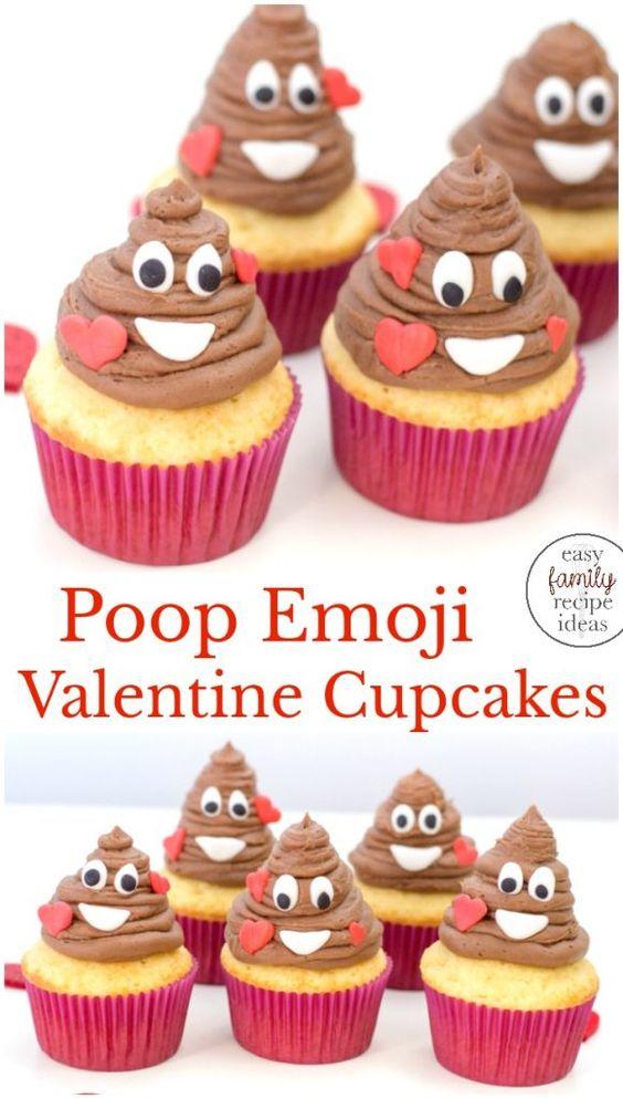poop emoji valentine cupcakes