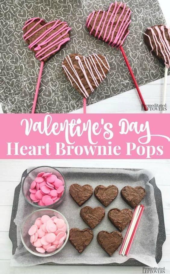 valentines day heart brownie pops