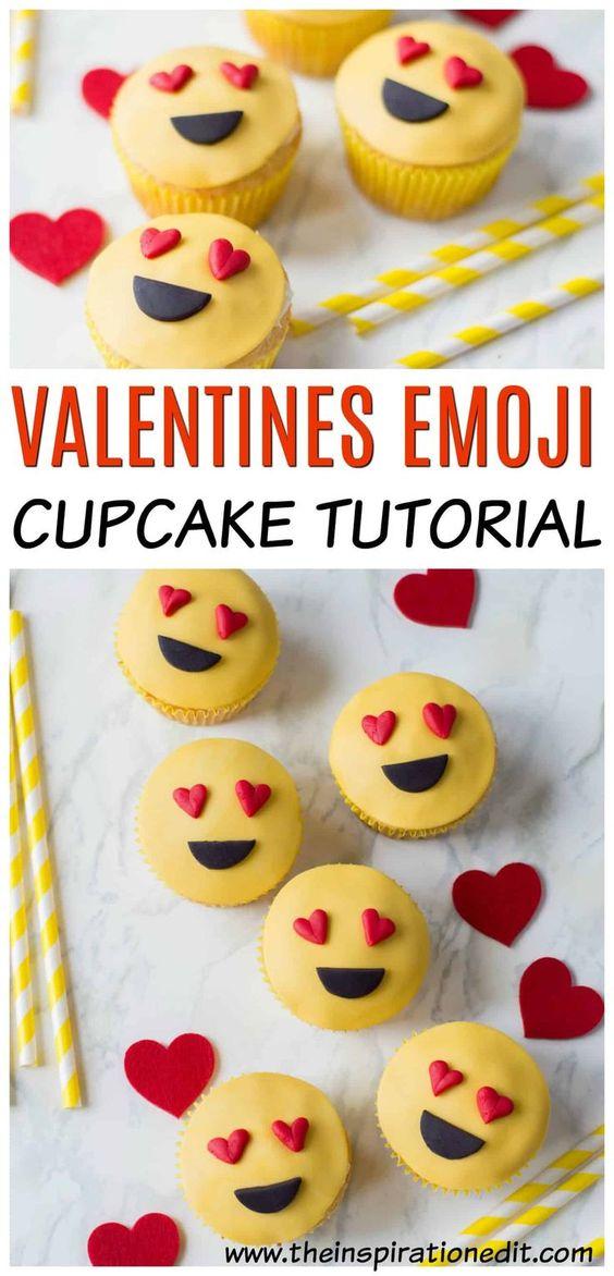 valentines emoji cupcakes