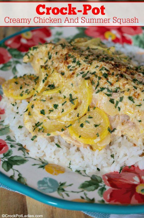 crock pot creamy chicken and summer squash