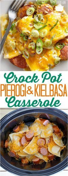 crock pot pierogi and kielbasa casserole