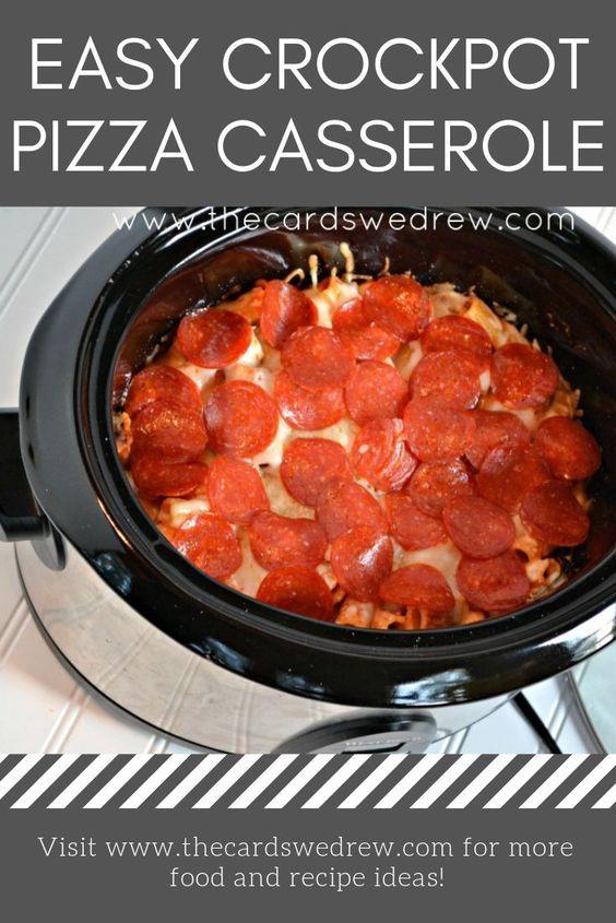 easy crock pot pizza casserole